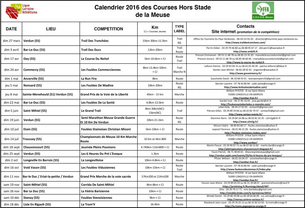 calendrier calorg CDCHS Meuse 2016